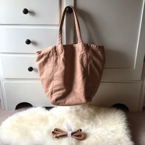 Remi and Reid from Anthropologie pastel pink bag